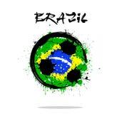 Flagge von Brasilien als abstrakten Fußball Stockbilder