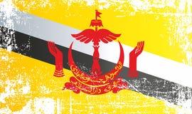 Flagge von Brunei, Nation von Brunei, der Wohnsitz des Friedens Geknitterte schmutzige Stellen vektor abbildung