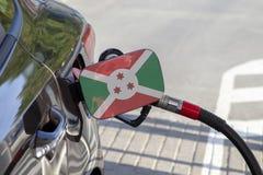 Flagge von Burundi auf der Auto ` s Brennstoff-Füllerklappe lizenzfreies stockfoto