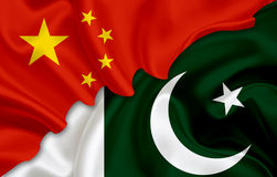 Flagge von China und Flagge von Pakistan Stockbilder