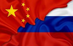 Flagge von China und Flagge von Russland Lizenzfreies Stockbild