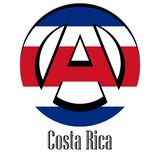 Flagge von Costa Rica der Welt in Form eines Zeichens der Anarchie stock abbildung