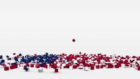Flagge von den Vereinigten Staaten von Amerika geschaffen von den Würfeln 3d in der Zeitlupe stock video footage