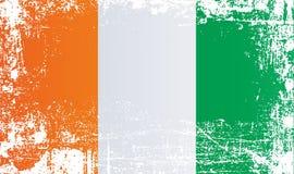 Flagge von der Elfenbeinküste, Republik Côte d?Ivoire, Afrika Geknitterte schmutzige Stellen stock abbildung