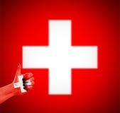 Flagge von der Schweiz an Hand Lizenzfreie Stockfotografie