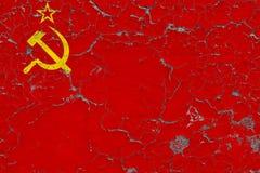 Flagge von der Sowjetunion malte auf gebrochener schmutziger Wand Nationales Muster auf Weinleseartoberfl?che vektor abbildung