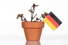 Flagge von Deutschland in einem Blumentopf mit Dürrenblume Stockfotos