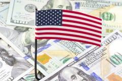 Flagge von Dollar Vereinigter Staaten Stockfoto