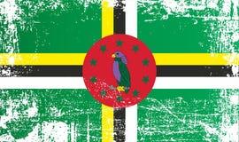 Flagge von Dominica, Commonwealth of Dominica Geknitterte schmutzige Stellen stock abbildung