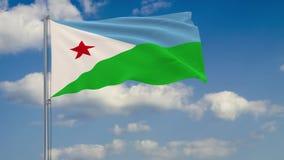 Flagge von Dschibuti gegen Hintergrund von Wolken lizenzfreie abbildung