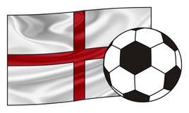 Flagge von England mit einem Ball Stockbild