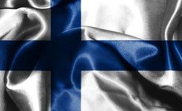 Flagge von Finnland wellenartig bewegend in die Illustration des Winds 3D Stockbild