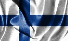 Flagge von Finnland wellenartig bewegend in die Illustration des Winds 3D Lizenzfreie Stockfotografie