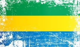 Flagge von Gabun, Gabunische Republik Geknitterte schmutzige Stellen vektor abbildung