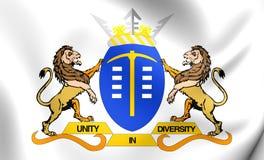 Flagge von Gauteng, Südafrika Stockfotos