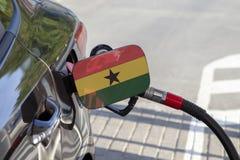 Flagge von Ghana auf der Auto ` s Brennstoff-Füllerklappe stockfotografie