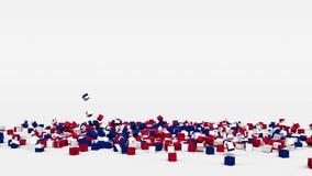 Flagge von Großbritannien schuf von den Würfeln 3d in der Zeitlupe stock video footage