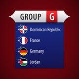 Flagge von Gruppe G: Dominikanische Republik, Frankreich, Deutschland, Jordanien lizenzfreie abbildung