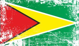 Flagge von Guyana, kooperatives Republik Guyana, Afrika Geknitterte schmutzige Stellen lizenzfreie abbildung