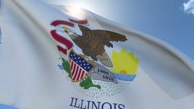 Flagge von Illinois wellenartig bewegend in den Wind stock video footage
