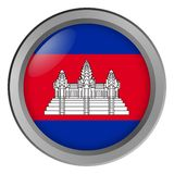 Flagge von Kambodscha-Runde als Knopf lizenzfreie abbildung
