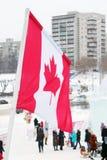 Flagge von Kanada in der Stadt Stockbild