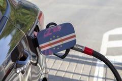 Flagge von Kap-Verde auf der Auto ` s Brennstoff-Füllerklappe lizenzfreie stockfotografie