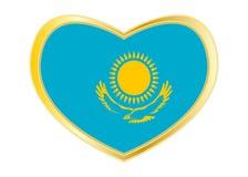 Flagge von Kasachstan in der Herzform, goldener Rahmen Lizenzfreie Stockbilder