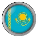 Flagge von Kasachstan-Runde als Knopf stockfotos