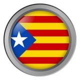 Flagge von Katalonien-Runde als Knopf lizenzfreie abbildung