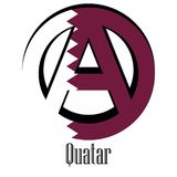 Flagge von Katar der Welt in Form eines Zeichens der Anarchie vektor abbildung