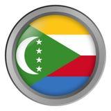 Flagge von Komoren-Runde als Knopf stock abbildung