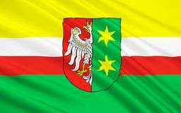 Flagge von Lubusz Voivodeship in West-Polen stockfotografie