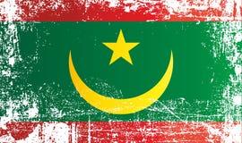 Flagge von Mauretanien, islamische Republik von Mauretanien, Überseeregion von Frankreich Geknitterte schmutzige Stellen lizenzfreie abbildung
