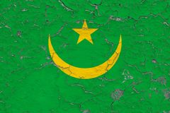 Flagge von Mauretanien malte auf gebrochener schmutziger Wand Nationales Muster auf Weinleseartoberfl?che vektor abbildung