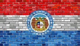 Flagge von Missouri auf einer Backsteinmauer Lizenzfreie Stockbilder