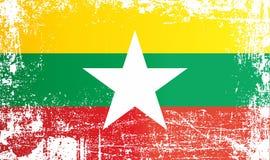 Flagge von Myanmar, Republik des Union Myanmars Geknitterte schmutzige Stellen vektor abbildung