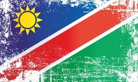 Flagge von Namibia, Afrika Geknitterte schmutzige Stellen lizenzfreie abbildung