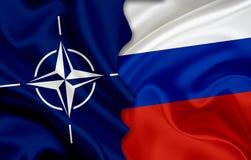 Flagge von NATOand-Flagge von Russland Stockbild
