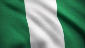 Flagge von Nigeria-Animation Nigeria fahnenschwenkend auf Wind stock abbildung