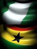 Flagge von Nigeria und von Ghana Lizenzfreie Stockbilder