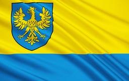 Flagge von Opole Voivodeship in Polen lizenzfreie stockbilder