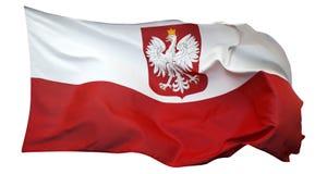 Flagge von Polen, lokalisiert auf weißem Hintergrund Stockfotografie