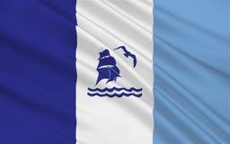 Flagge von Rio Gallegos von Santa Cruz ist eine Provinz in Argentinien stockfotografie