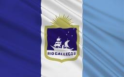 Flagge von Rio Gallegos von Santa Cruz ist eine Provinz in Argentinien lizenzfreie stockfotos