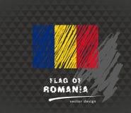 Flagge von Rumänien, Vektorkreideillustration auf schwarzem Hintergrund Stockbild