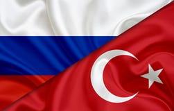 Flagge von Russland und Flagge von der Türkei Stockfotografie