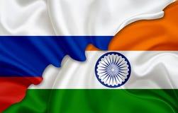 Flagge von Russland und Flagge von Indien Lizenzfreies Stockbild