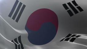Flagge von Südkorea wellenartig bewegend auf Fahnenmast im Wind, nationales Sonderzeichen der Freiheit stock video footage