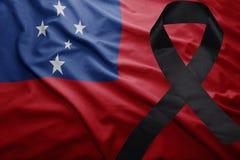 Flagge von Samoa mit schwarzem Trauerband Lizenzfreie Stockfotografie